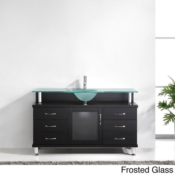 Virtu Usa Vincente 55 Inch Single Sink Bathroom Vanity Set