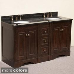 Natural Granite Top 60 inch Double Sink Traditional Style Bathroom Vanity in Dark Walnut Finish