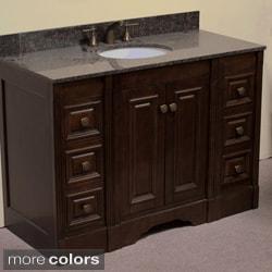 Natural Granite Top 48 inch Single Sink Traditional Style Bathroom Vanity in Dark Walnut Finish