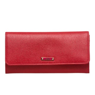 Fendi 'Elite' Red Vitello Leather Continental Wallet