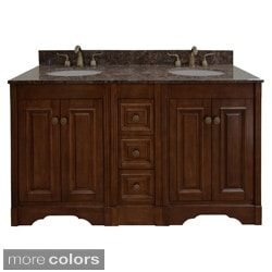 Natural Granite Top 60 inch Double Sink Traditional Style Bathroom Vanity in Light Walnut Finish