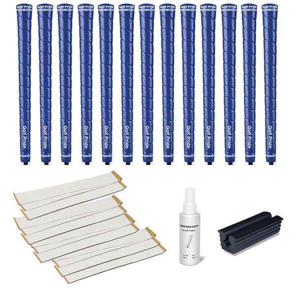 Golf Pride Tour Wrap 2G Blue/White - 13pc Grip Kit (with tape, solvent, vise clamp)