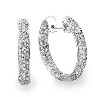 14k White Gold 4/5ct TDW Diamond Pave Hoop Earrings (H-I, I1-I2)