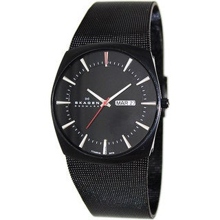 Skagen Men's 696XLTBB Black Titanium Quartz Watch with Black Dial