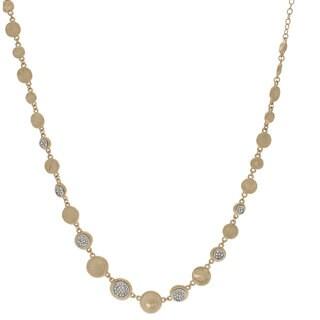 NEXTE Jewelry Goldtone Nugget and Rhinestone Disc Necklace