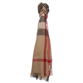 Burberry Camel Check Silk and Cashmere Scarf
