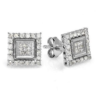 Sterling Silver 1/2ct TDW Diamond Square Earrings (I-J, I2-I3)