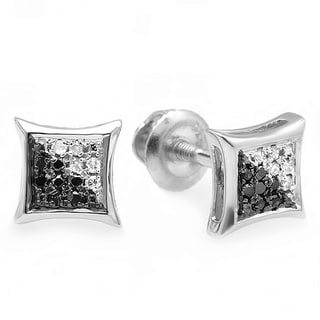 Sterling Silver 1/10ct TDW Black and White Diamond Earrings (I-J, I2-I3)