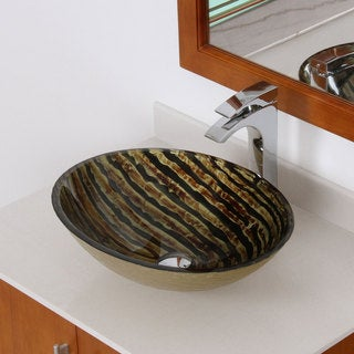 ELITE 7016 Modern Oval Design Tempered Glass Bathroom Vessel Sink