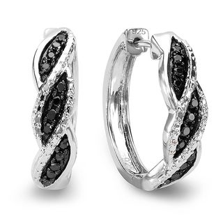 Sterling Silver 1/4ct TDW Black Diamond Braided Design Hoop Earrings