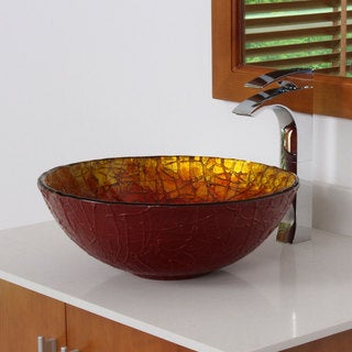 ELITE 7018 Rainbow Design Tempered Glass Bathroom Vessel Sink