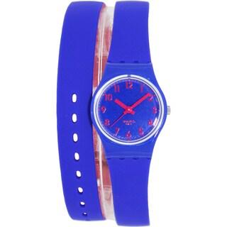 Swatch Women's Originals LS115 Two-Tone Rubber Swiss Quartz Watch with Blue Dial