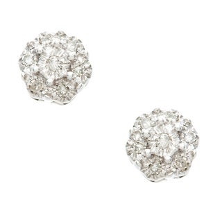 10k White Gold Diamond Accent Flower Cluster Earrings