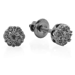 10k White Gold Black Diamond Accent Flower Cluster Earrings