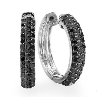 Sterling Silver 3/4ct TDW Black Diamond Cuff Earrings