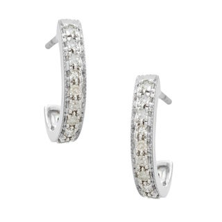 10k White Gold 1/5ct TDW Diamond Semi-hoop Earrings (I-J, I2-I3)