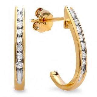 10k Yellow Gold 1/4ct TDW Diamond Semi-hoop Earrings (I-J, I2-I3)