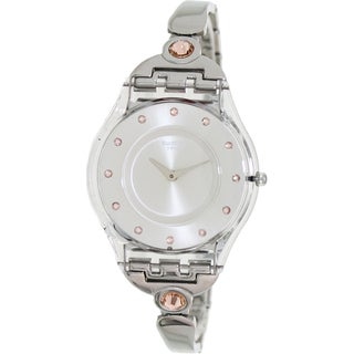 Swatch Women's 'Skin' Pink Crystal-accented Watch