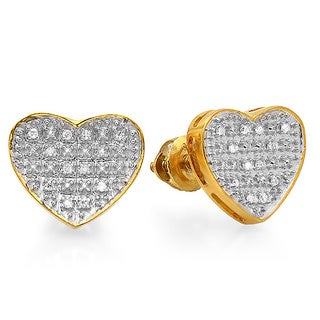 18k Gold over Silver 1/10ct TDW Diamond Heart Earrings (I-J, I2-I3)