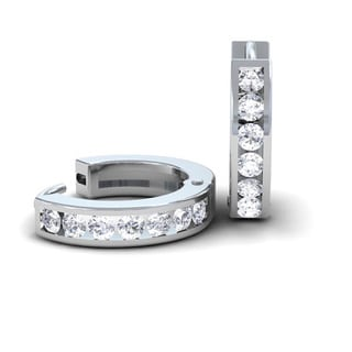 14k White Gold 1/3ct TDW Diamond Hoop Earrings (H-I, I1-I2)