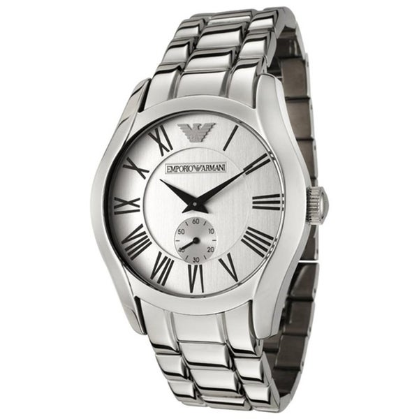 Emporio Armani Men's Classic AR0647 Silver Stainless-Steel Analog Quartz Watch with Silver Dial