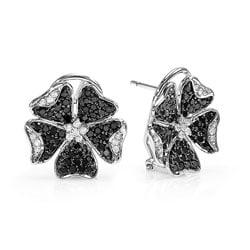 14k Gold 1 1/4ct TDW Black and White Diamond Floral Earrings (H-I, I1-I2)
