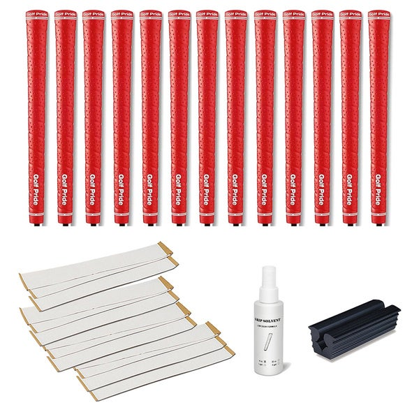 Golf Pride Tour Wrap 2G Red - 13pc Grip Kit (with tape, solvent, vise clamp)