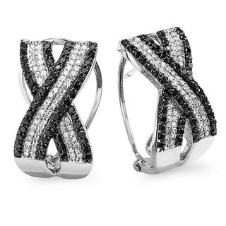 10k Gold 1 1/2ct TDW Black and White Diamond Hoop Earrings (H-I, I1-I2)