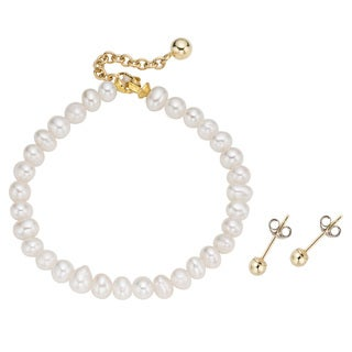 Pearlyta 14k Gold Children's White FW Pearl Jewelry Set (4-5 mm) with Gift Box