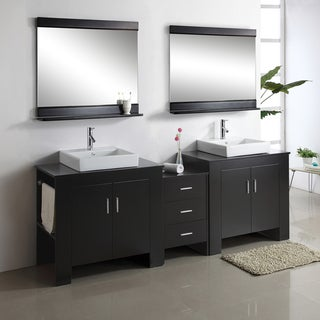 Virtu USA Tavian 90-inch Double Sink Bathroom Vanity Set