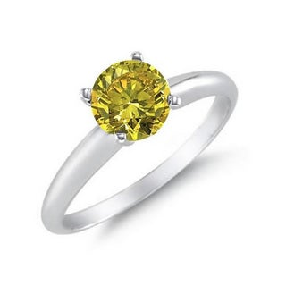 14K White Gold 1/4ct TDW Yellow Diamond Solitaire Ring