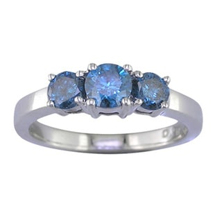 Sterling Silver 1/4ct TDW Three Stone Blue Diamond Engagement Ring