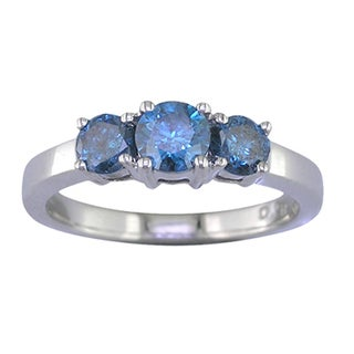 14k White Gold 1/2ct TDW Blue Diamond 3-stone Ring