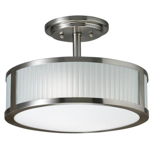 Transitional 2-light Brushed Nickel Semi Flush Mount