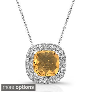 Rhodium over Sterling Silver Citrine and 1/3ct TDW White Diamond Necklace(JK, I2-I3)