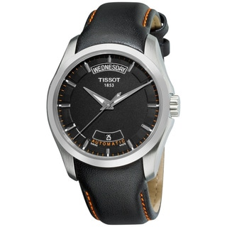Tissot Men's Couturier T035.407.16.051.01 Black Calf Skin Swiss Automatic Watch with Black Dial