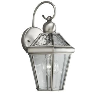Transitional 1-light Outdoor Antique Pewter Wall Fixture