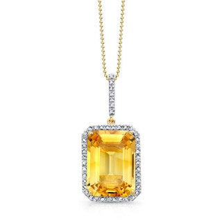Sterling Silver 1/4ct TDW White Diamond and Citrine Pendant (JK, I2-I3)