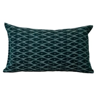 Hand-Woven Ikat Decorative Green Lumbar Pillow (India)