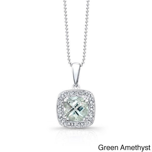 Sterling Silver Green Amethyst 1/5ct TDW White Diamond Pendant (JK, I2-I3)
