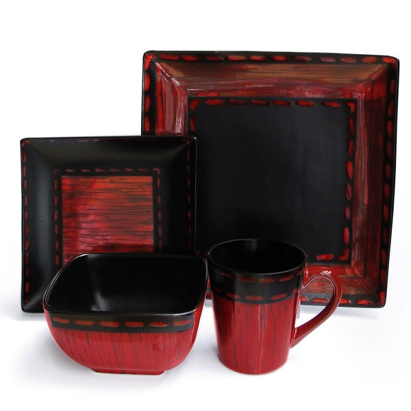 Livingston Red 16-piece Dinner Set