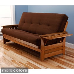 Ali Phonics Multi-Flex Honey Oak Wood Futon Frame with Innerspring Suede Mattress