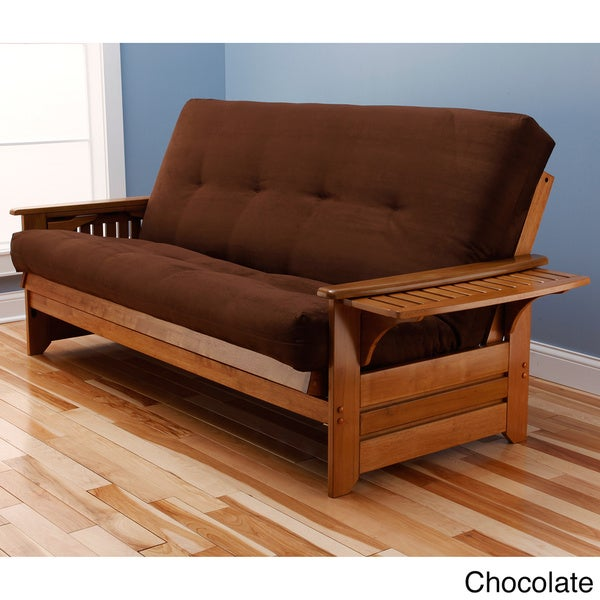Somette Ali Phonics Multi-Flex Honey Oak Wood Futon Frame with Innerspring Suede Mattress