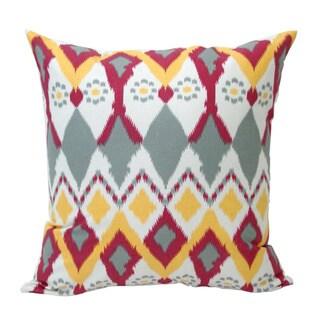 Hand-Woven Vibrant 'Owl' Ikat Decorative Pillow (India)
