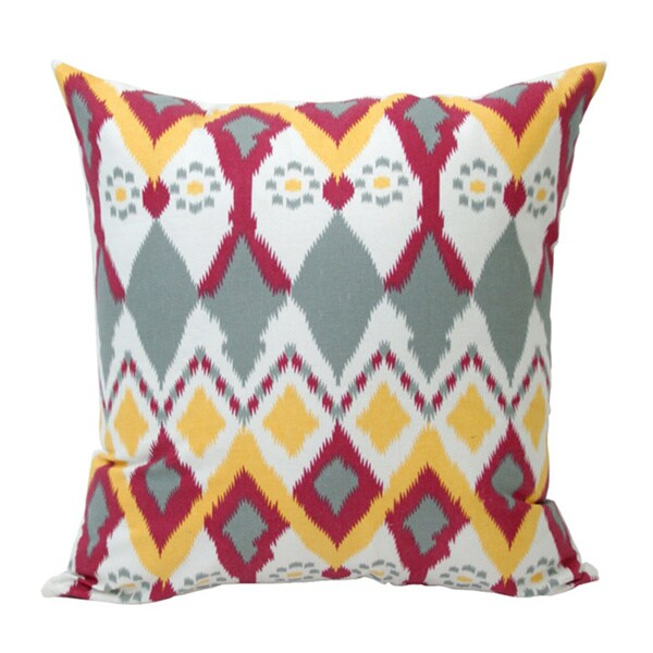 Hand-Woven Vibrant 'Owl' Ikat Decorative Pillow (India)