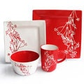 Blossom Branch Red 16-piece Dinner Set