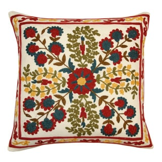 Bordered Suzani Embroidered Decorative Pillow (India)