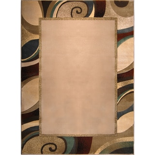 Hand-carved Modern Element Beige Rug (5'2 x 7'2)