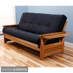 Ali Phonics Honey Oak Multi-Flex Wood Futon Frame with Innerspring Suede Mattress