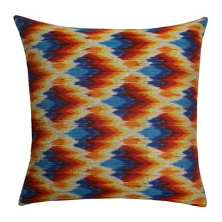 Vibrant Haze Hand-Woven Ikat Decorative Pillow (India)